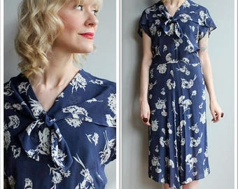 25% Off Sale // 1940s Dress // Silk Falling Floral Dress // vintage 40s dress