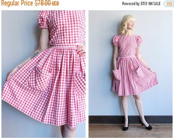 25% Off Sale // 1950s Dress Set // Barn Dance Gingham Blouse & Skirt //