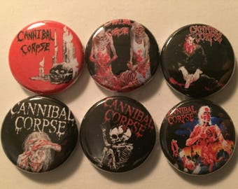 "Cannibal Corpse 1"" Pins Buttons Badges Set of 6 Death Metal Butchered at Birth"