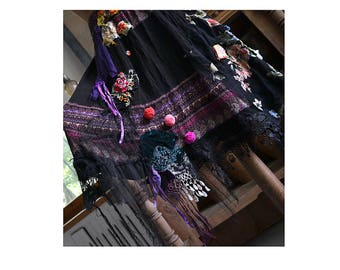 Beautiful Unique  Art to Wear Ethno Mexico Spain Black Skirt FRIDA Antique Tribal Textiles  Laces Silk Velvet  Fairy Boho Gipsy Tattered