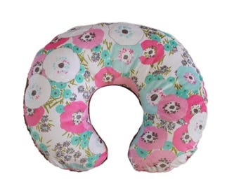 boppy cover- nursing pillow cover-floral all minky boppy cover-all minky cover, girl boppy cover, baby shower gift-ships today