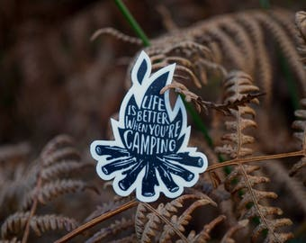 Life is better when youre camping, adventure vinyl decal bumper sticker