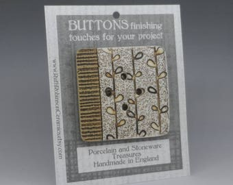 Very big button focal piece square button stoneware and porcelain, textured with nature inspired pattern