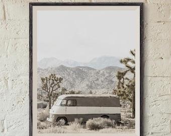 WEEKEND SALE Retro Van near Joshua Tree FineArt Photograph ,Decorating Ideas, Wall Decor, Wall Art, Gift Ideas, Home Decor, Photography