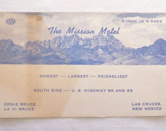 Vintage 1950's or 1960's Business Card-The Mission Motel-Las Cruces New Mexico-Mileage Chart-FREE SHIPPING!