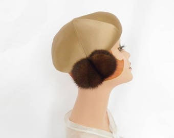 1960s gold hat, vintage 60s tilt with mink, Jan Leslie