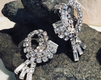 Vintage Rhinestone Dressy Clip Earrings
