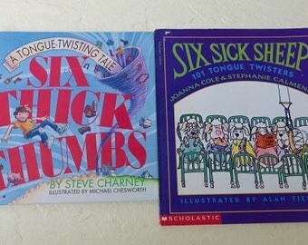 """Two Tongue Twister Books, """"Six Sick Sheep"""" and """"Six Thick Thumbs"""""""