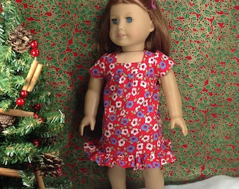 18inch doll clothes, fits like American Girl- Red Mumu Dress-Stocking Stuffer