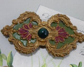Ornate Painted Brass Belt Buckle or Sash Slide Brooch    OAN48