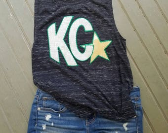 Kearney Catholic tank top, Kearney Nebraska, Catholic stars, game day shirt, high school, top green, gold, spirit gear, game day, tshirt