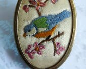 Vintage Embroidered Petit Point Bluetit Bird on Pink Blossom Flowers