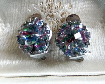Mid Century Tiny Striped Iris Rhinestone Clip Earrings