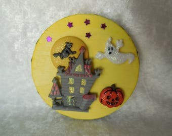 Hand Made Halloween Refrigerator Magnet, Halloween Magnet with Ghost and Witch