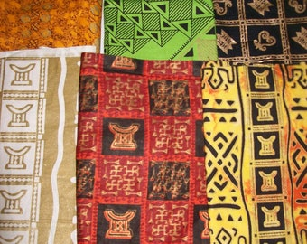 """Metallic African print fat quarter bundles 18""""x22"""" inches 6 pack/quilting/bangles, clutches/ African craft fabrics"""