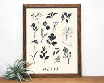 Garden Herbs Chart | Kitchen Print | Garden Art | Black and White