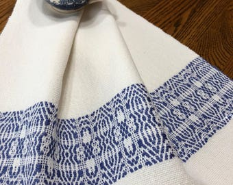 Handwoven Blue and White Kitchen Towel, Chef Towel, Hostess Towel, Chef's Kitchen Towel, Bath Hand Towel, Artisan Woven Tea Towel, Weaving