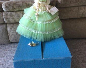 "Madame Alexander 21"" Morisot doll w/box, dress and wrist tags, light green"