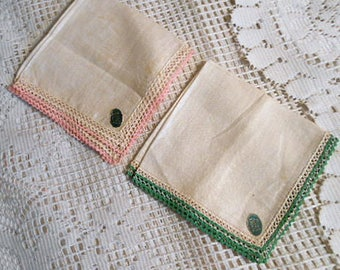 2 IRISH LINEN HANKIES Lovely Cream Flax Fabric, Pink Green Mini Rick Rack Edging Paper Labels, Unused Vintage 1950s Lady Gift Mothers Day