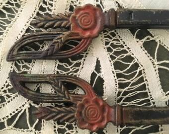 Antique Curtain Rod Art Nouveau Metal Iron Hardware Pair #4