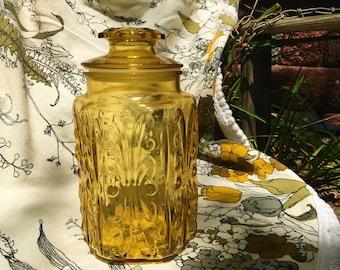 Mid-century Canister Jar Vintage Amber Glass Mod 1960s 1970s Medium Imperial Atterbury