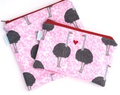 Back to School - Reusable Sandwich Bag - Zero Waste - Eco Bag - BPA Free Bag - Zipper Pouch - Ostriches - Gift for Kids - Ready to Ship