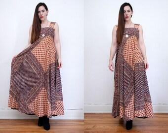 Vintage Indian Block Cotton Batik Hippie Sundress Boho Maxi Dress 70's