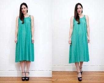 Vintage Green Grecian Sundress Boho Low Back  Smock Hippie Dress