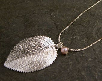SALE - Gift For Women, Raywood Silver Leaf Pendant  - Silver Leaf Pearl Necklace Inspired By Mother Earth