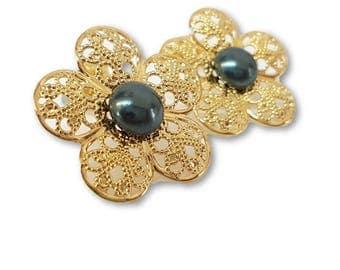 Art Deco Earrings, Bridesmaid Gift, Bridesmaid Earrings, Boho Wedding Earrings, Blue Pearl Flower Earrings, Pearl Earrings, June Birthstone