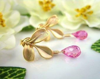 Hot pink quartz gold leaf earrings, magenta pink quartz gold leaf drop earrings