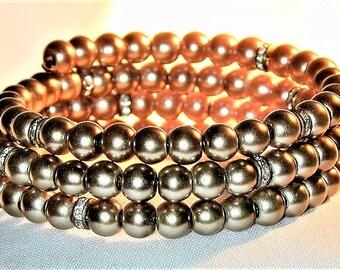 Taupe Glass Pearl & Rhinestone Wrap Bracelet OOAK