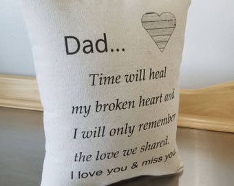 Sympathy gift father throw pillow bereavement gift pillow loss of dad keepsake in memory of dad cushion condolence gift thinking of you gift