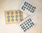 Three vintage early plastic buttons sheets in light blue baskets of flowers and tiny flowers years 40's - 50's, sewing supplies