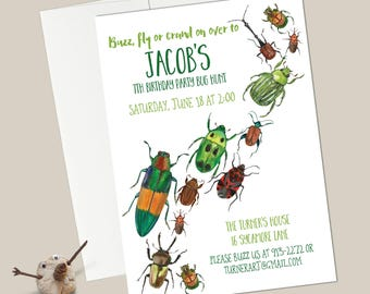 Bugs Birthday Invitations - EDITABLE INSTANT DOWNLOAD - Watercolor/Creepy Crawly/Insect Party