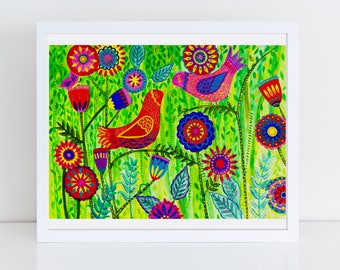 Garden Birds Folk Art Print -- 100 Thank Yous Project, Primitive, Colorful Wall Art, Vibrant Art, Poster, Floral, Happy
