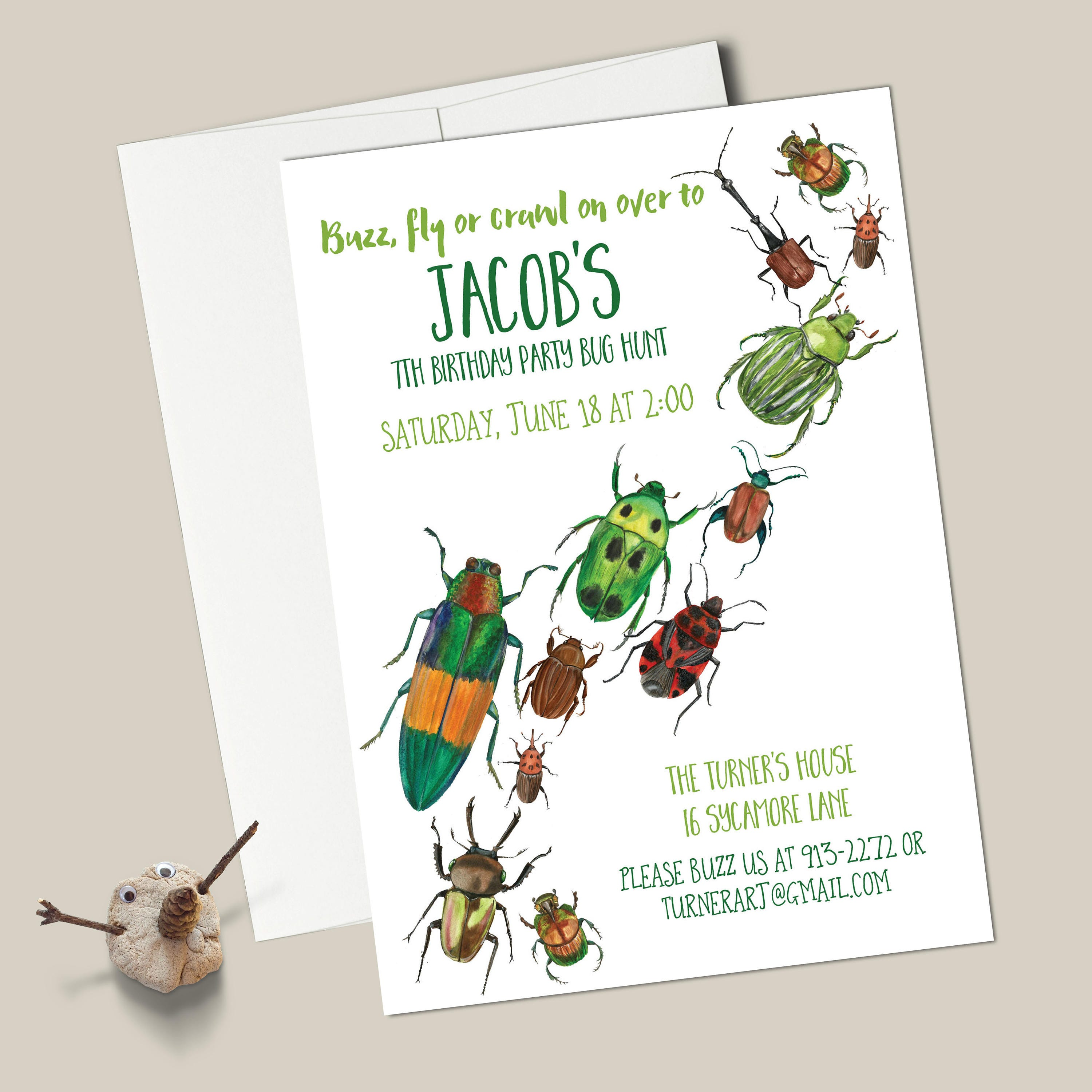 Bugs Birthday Invitations - EDITABLE INSTANT DOWNLOAD - Watercolor ...