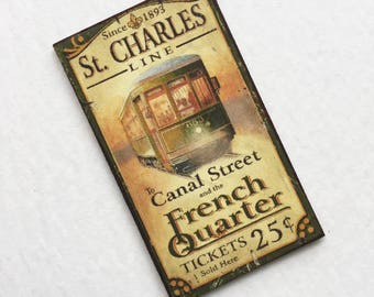 Miniature French Quartre Sign St. Charles Line Canal Street 1:12 Scale for Dollhouse
