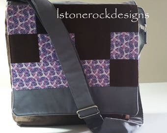 Mini Messenger Bag Abstract Purple Print Adjustable Strap Corduroy Crossbody Patchwork