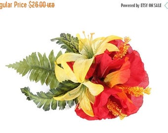 FLASH SALE Tropical Red Hibiscus and Yellow Lily Pinup Hair Flower Fascinator Clip