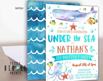 Under the sea birthday invitation Boy Under the sea party invitation Ocean Birthday Pool Party Birthday Invitation Octopus