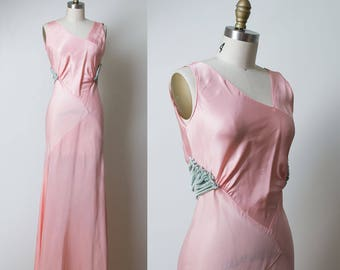 1930s Pale Pink Gown / 30s Evening Gown