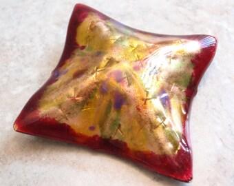 Enameled Brooch Pendant Colorful Copper Artisan Vintage V0029