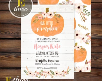 Pumpkin 1st Birthday Party Invitation - Fall Girls Birthday Invitations - Floral - Pink and Orange - Rustic Barn Wood - Shiplap