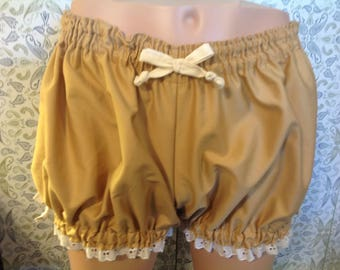 SALE--Womens Khaki Gold Bloomers, Woven Cotton trimmed in Cream Ribbons and Eyelet, Size Small