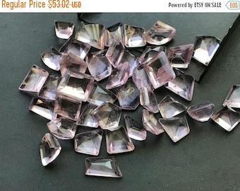 ON SALE 50% WHOLESALE 10 Pcs Pink Amethyst Fancy Cut Cabochons, Pink Amethyst Rose Cut Flat Back Cabochons, Amethyst Jewelry, 13-15mm - Ns33