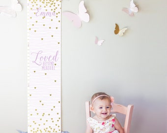 "Custom/ Personalized lavender striped and gold hearts ""Loved beyond measure"" canvas growth chart for girl's room/nursery or baby shower gift"
