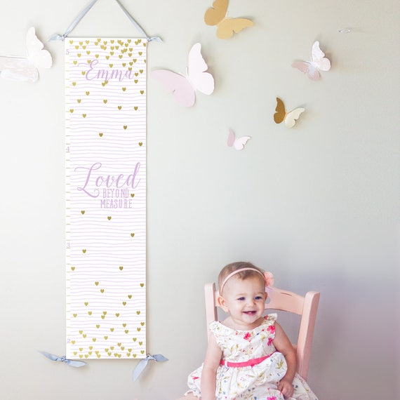 "Personalized lavender striped and gold hearts ""Loved beyond measure"" canvas growth chart"
