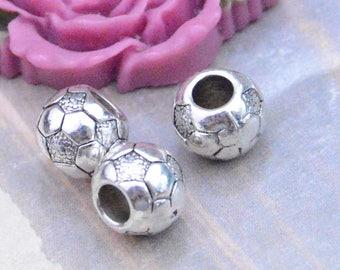 20 football shape beads, antique silver round ball beads, large hole beads, alloy metal beads, jewelry bead pendant 9x10mm
