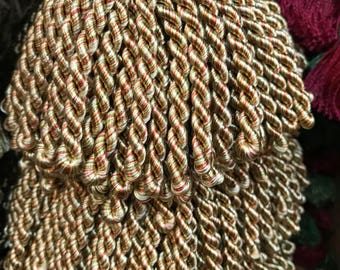 4 inch Bullion fringe in golds, hints of reeds and green